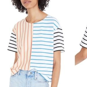 EUC MADEWELL EASY CROP TEE IN STRIPE MIX